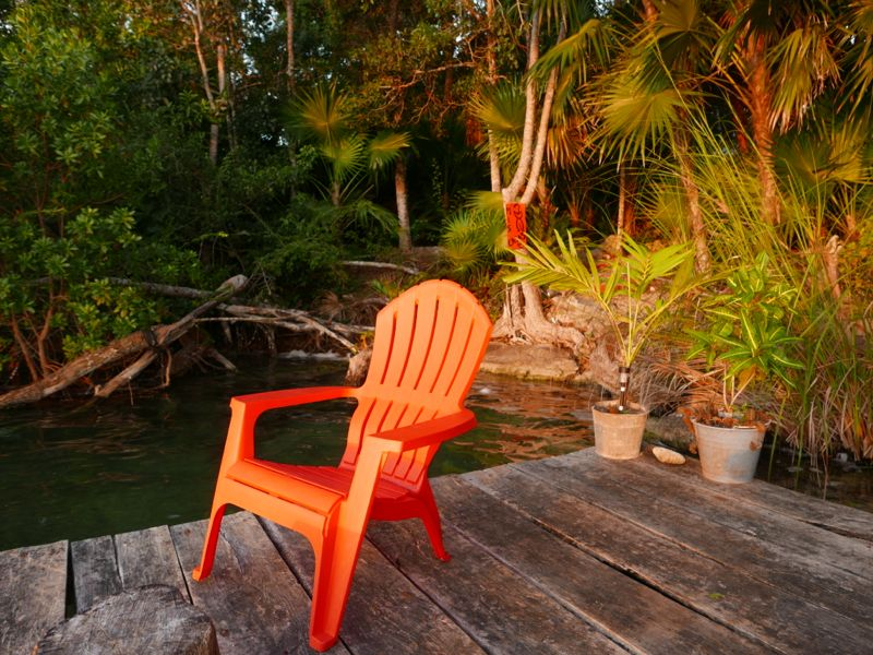 Tranquil seat for watching sunrise over the water